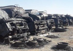 سوختن نزدیک به ۱۰۰ خودروی ایرانی در آتش اسلامقلعه